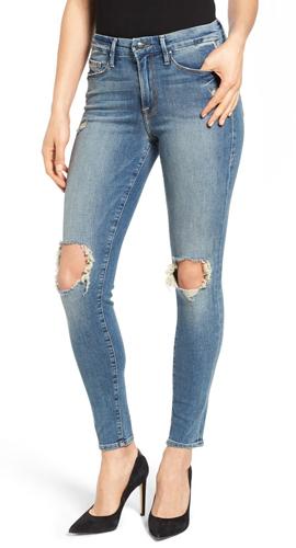 GOOD AMERICAN Good Legs Ripped Skinny Jeans
