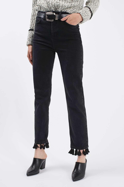 MOTO Tassel Hem Straight Leg Jeans