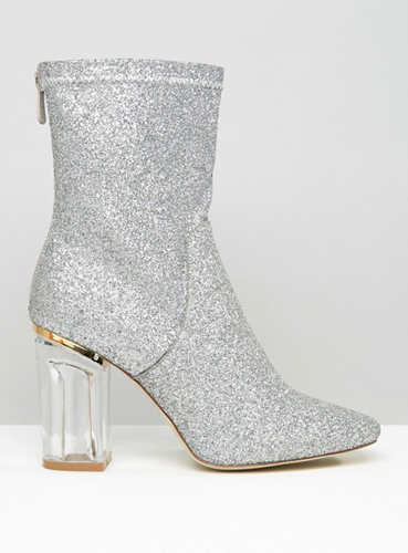 Public Desire Claudia Glitter Sock Clear Heeled Ankle Boots