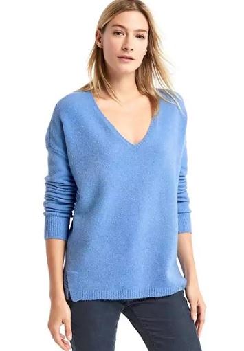 Blue V-neck cozy sweater
