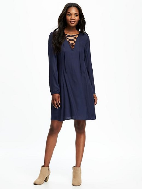 Lace-Up Neck Swing Dress