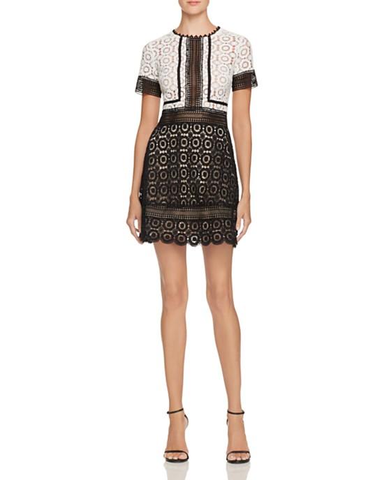Aqua Color Block Lace Dress