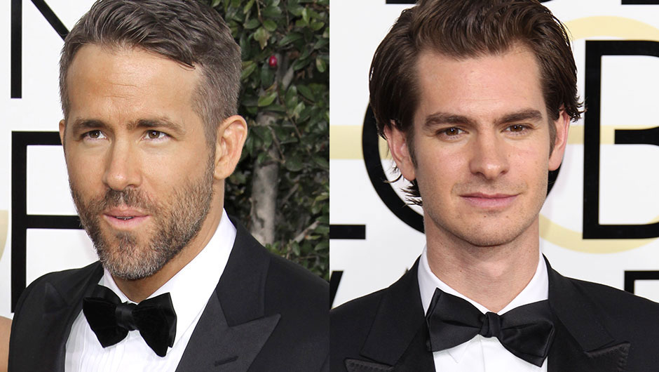 Ryan Reynolds and Andrew Garfield at the 2017 Golden Globes