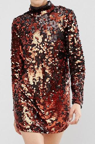 ASOS Copper Sequin High Neck Shift Mini Dress