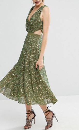 ASOS Embellished Side Cut Out Midi Dress