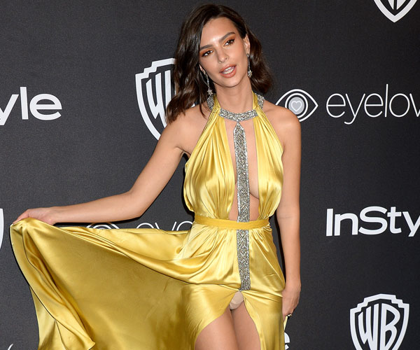Emily Ratajkowski Stunned At The 2017 Golden Globes In A Silky Yellow Reem Acra Gown With A Super High Slit And Deep Daring Neckline