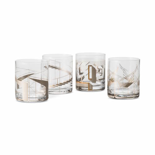 Metallic Cocktail Glasses 4 ct Clear/Copper