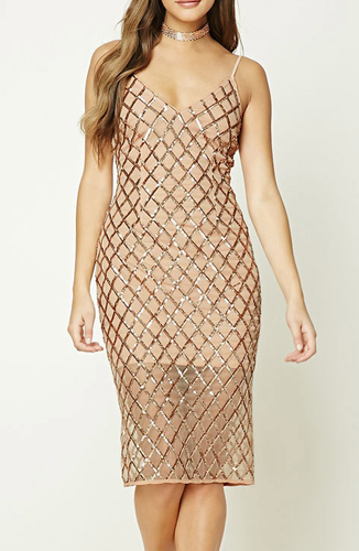 Metallic High Slit Dress