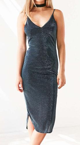 Silence + Noise Sparkly Bodycon Midi Slip Dress