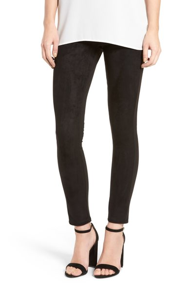 Fire Faux Suede Front Leggings