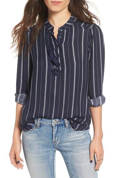 BP Stripe Ruffle Popover Shirt