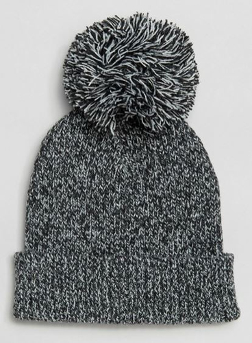 ASOS Short Turn Up Pom Beanie with Rib Turn Up