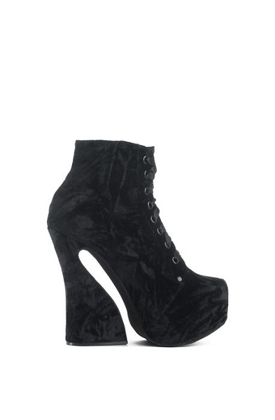 Jeffrey Campbell The Carita Platform Wedged Lace-up Booties in Black