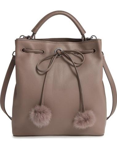Large Yvette Genuine Rabbit Fur & Leather Bucket Bag