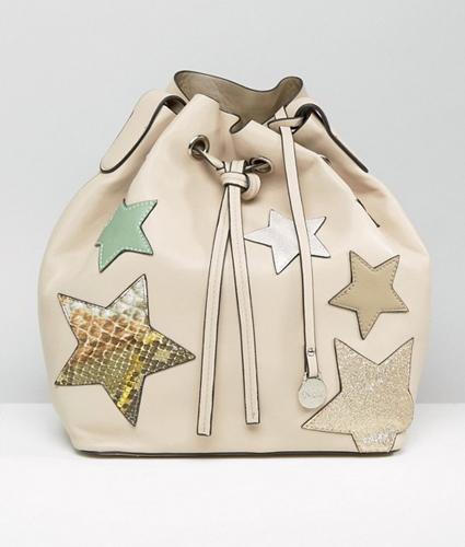Nali Beige Star Bucket Bag