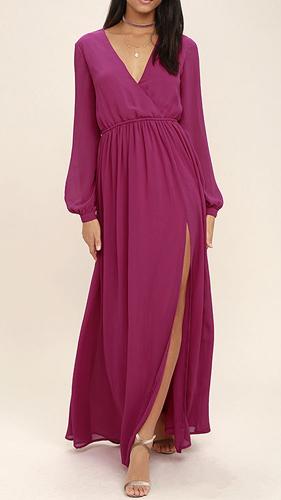 Wondrous Water Lilies Magenta Long Sleeve Maxi Dress