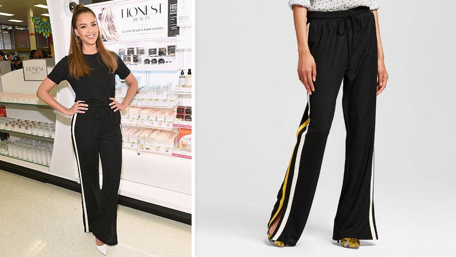 jessica alba who what wear target black track pants