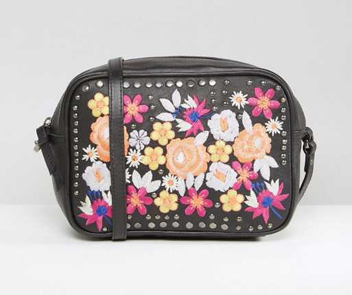 Asos Leather Summer Fl Embroidered Cross Body Bag