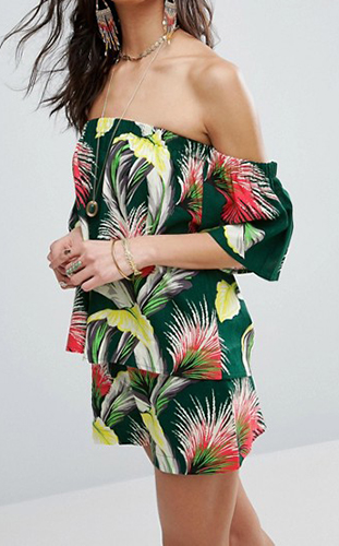 ASOS Off Shoulder Linen Top In Tropical Print Co Ord