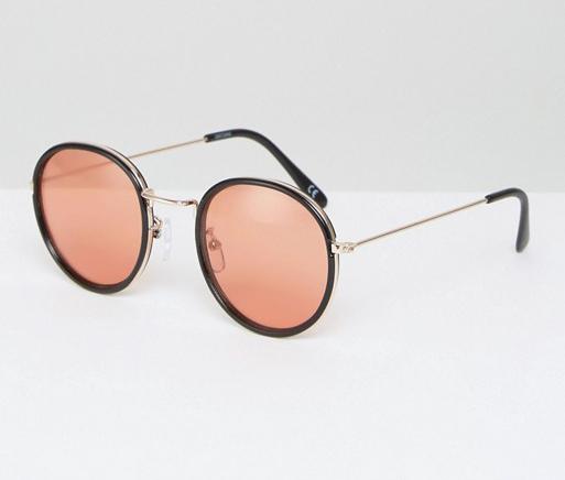 c8ea0bb9e ASOS Round Sunglasses With Metal Nose Bridge and 70s Orange Colored Lens