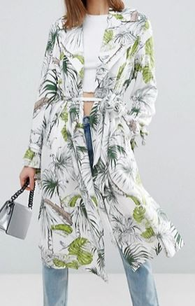 ASOS Soft Coat in Tropical Palm Print