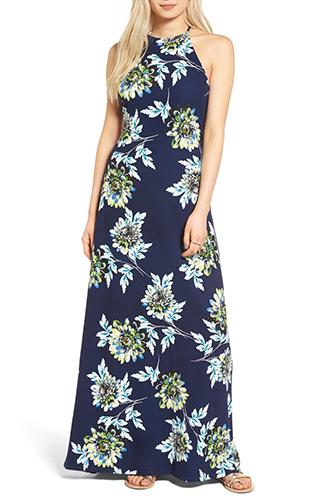 Floral Print High Neck Maxi Dress MIMI CHICA