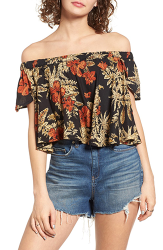 Island Fever Off the Shoulder Crop Top