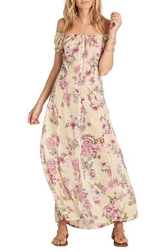 Linger Here Off the Shoulder Maxi Dress