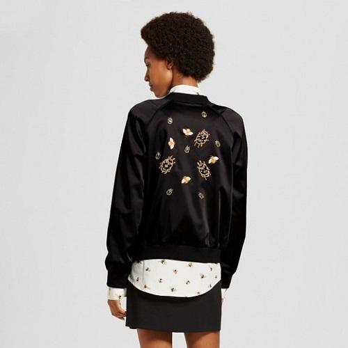 womens black satin embellished bug bomber jacket victoria beckham for target