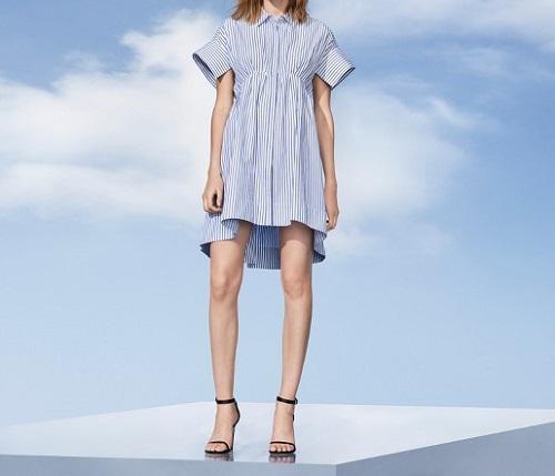 womens blue stripe poplin gathered waist dress victoria beckham for Target