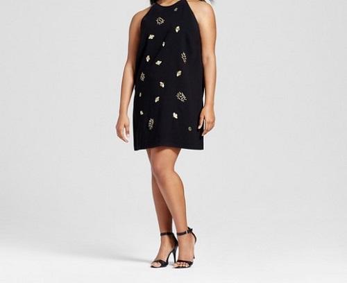 womens plus black embellished bug dress victoria beckham for target