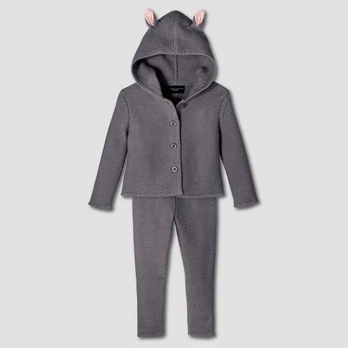 toddler girls' dark Grey Bunny Jacket and pant sweater set victoria beckham for target