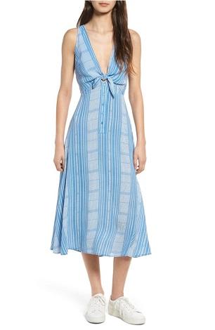 Lush Tie Front Midi Dress