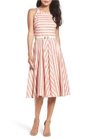 Eliza J Stripe Fit & Flare Midi Dress