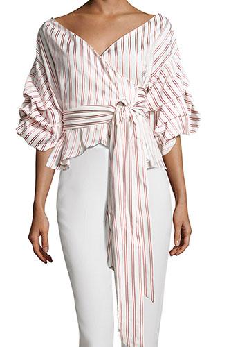 AlexisArmelle Off-The-Shoulder Striped Shirt