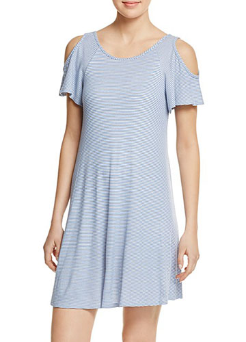 AQUA Cross Back Cold Shoulder Dress
