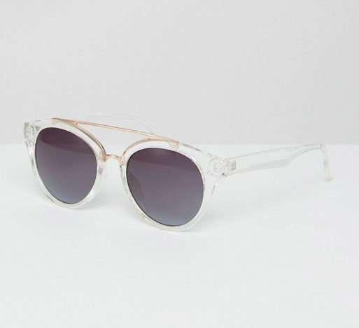 Jeepers Peepers Clear Frame Round Sunglasses with Gold Metal Detail