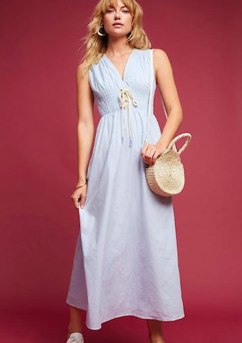 Anthropologie Lace-Up Poplin Midi Dress