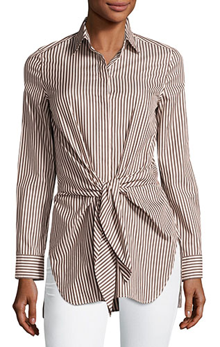 3.1 Phillip LimLong-Sleeve Striped Tie-Front Top