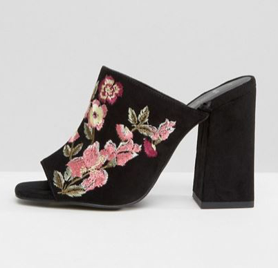 New Look Wide Fit Embroidered Heeled Mule