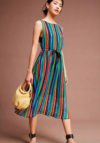 Anthropologie Rainbow Crochet Midi Dress
