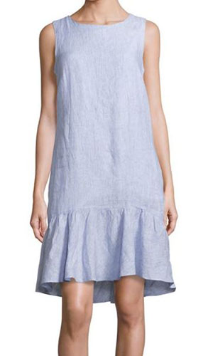 Saks Fifth Avenue BLUE Ruffled Linen Dress