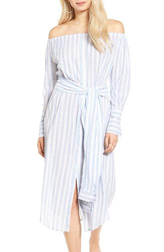 Stripe Off the Shoulder Shirtdress