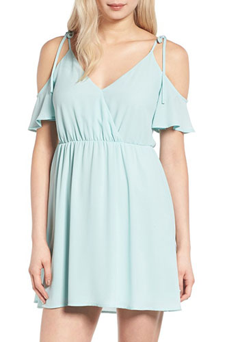 Surplice Cold Shoulder Dress