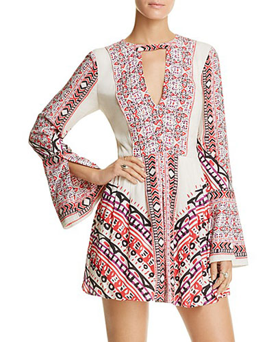 Free People Tegan Border-Print Mini Dress