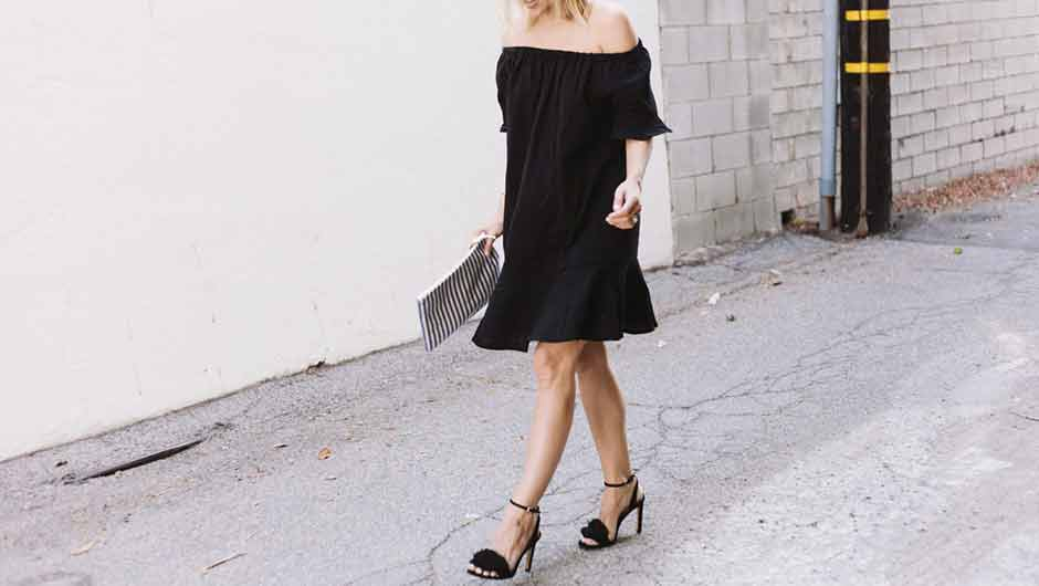 dc0e0bddf4e3 I can t get enough of off-the-shoulder dresses for spring and summer! This  shoulder-exposing look is so flattering and perfect for the warm-weather.