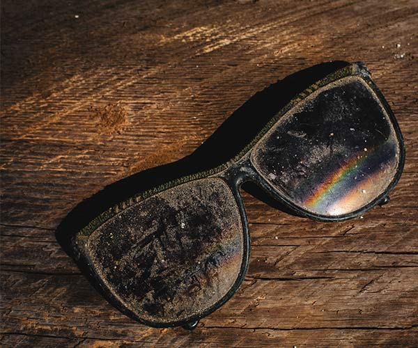 dirty scratched sunglasses