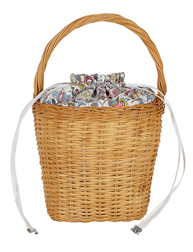 Edie Parker Lily Drawstring Wicker Basket Bag