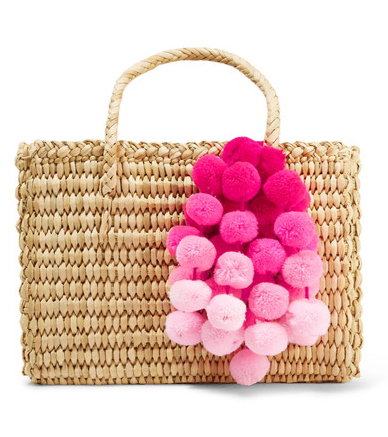 NANNACAY Maldives Baby pompom-embellished woven raffia tote
