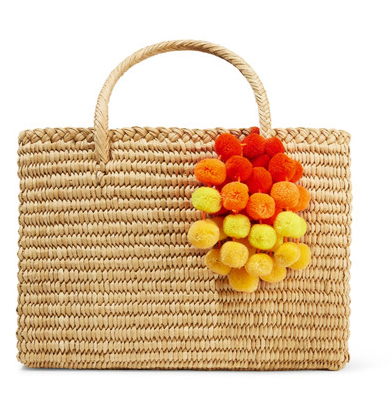 NANNACAY Maldives medium pompom-embellished woven raffia tote